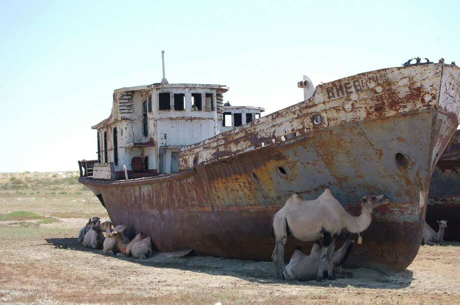 The Aral Sea was once one of the largest lakes in the world, but in the 1960s the Soviets began to divert water from the lake, located in Kazakhstan and Uzbekistan, for farming in the north. In the years since, the Aral Sea has receded to less than 10% of its former size, leaving former fishing villages out of luck and creating vast plains covered in salt and industrial toxins. Photo: The Washington Post, Washington Post/Getty Images / The Washington Post