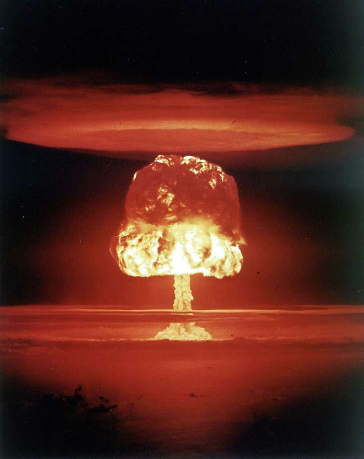 In 1954 the U.S. military tested a hydrogen bomb on Bikini Atoll in the Marshall Islands. The bomb, however, proved to be much more powerful than expected and nearby atolls were evacuated with over 200 residents and 23 Japanese fishermen being exposed to the radioactive fallout. The detonation, the largest atmospheric nuclear test in history, led to the use of underground tests. Photo: Roger Viollet, Roger Viollet/Getty Images / Roger Viollet