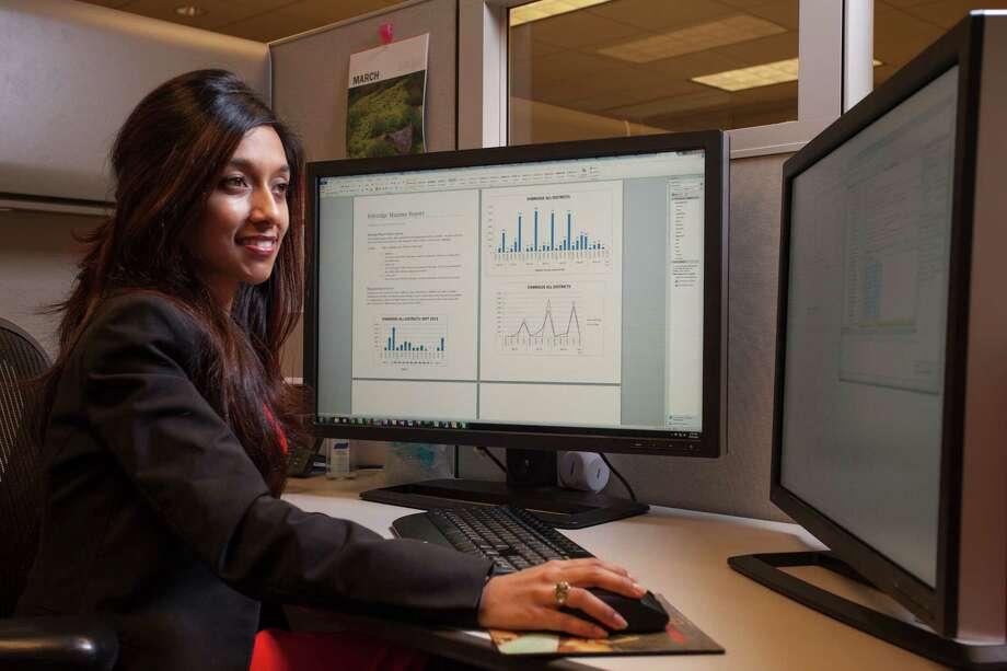 Nadia Khandoker, Enbridge engineer, works in the company's U.S. headquarters in Houston. She initially connected with Enbridge through its internship program.