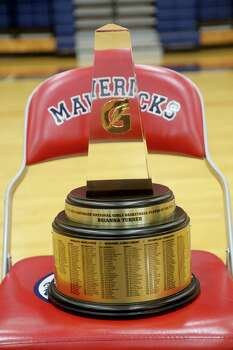 3/20/14: Brianna Turner name is inscribed on the trophy. Manvel's Brianna Turner was  named the 2013-14 Gatorade National Girls Basketball Player of the Year. at Manvel High School in Alvin, TX.  Presenting the award was 2006-07 player of the year Maya Moore, who plays in the WNBA. and Aminah Charles from Gatorade. Photo: Thomas B. Shea, Houston Chroncile / © 2014 Thomas B. Shea