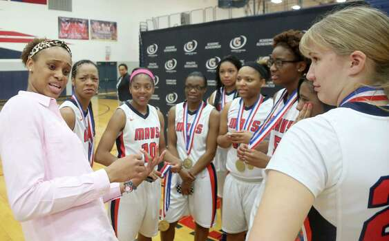 3/20/14: Brianna Turner tells the story to her teammates how they surprised her with the news during her morning class. Manvel's Brianna Turner was  named the 2013-14 Gatorade National Girls Basketball Player of the Year. at Manvel High School in Alvin, TX.  Presenting the award was 2006-07 player of the year Maya Moore, who plays in the WNBA. and Aminah Charles from Gatorade. Photo: Thomas B. Shea, Houston Chroncile / © 2014 Thomas B. Shea