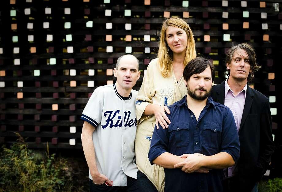 The Jicks: Mike Clark (left), Joanna Bolme and Jake Morris, with Stephen Malkmus Photo: Leah Nash