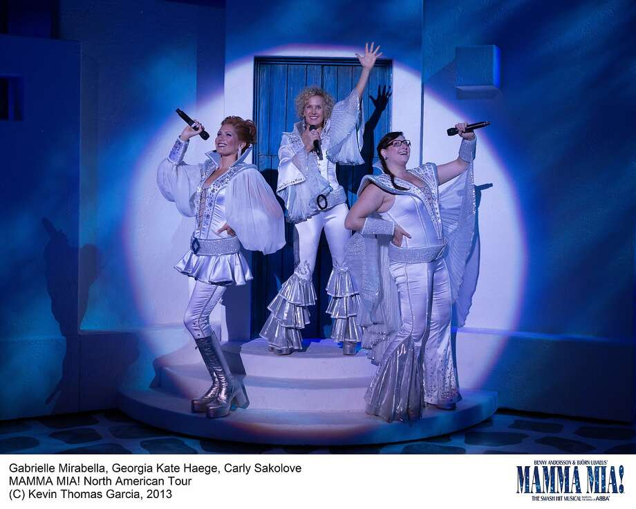 "Gabrielle Mirabella (left), Georgia Kate Haege and Carly Sakolove celebrate 1970s kitsch in the ""Mamma Mia!,"" which is returning to the Orpheum. Photo: Kevin Thomas Garcia"