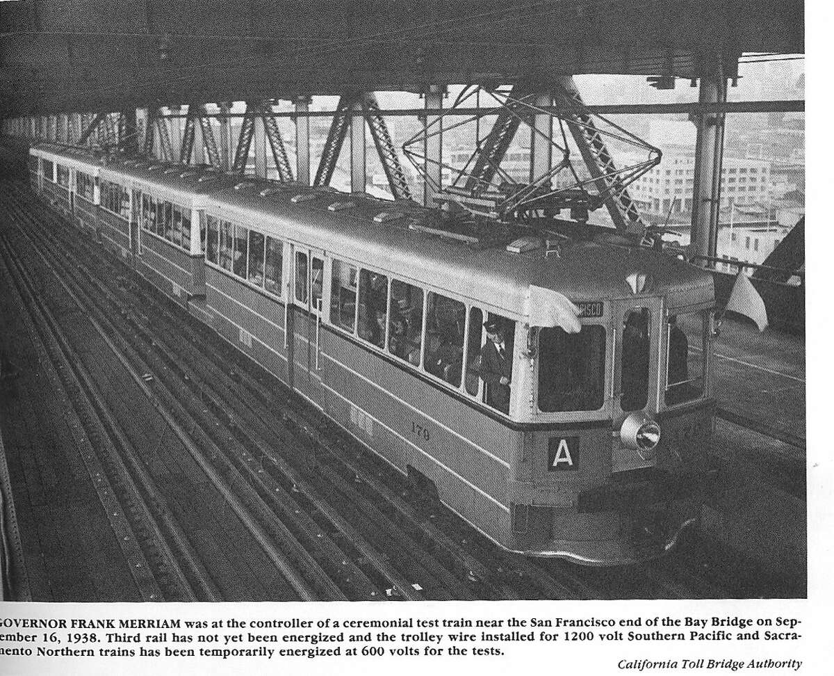 Key Route Transbay Commuting by train and ferry part two. Old Key System train crossing San Francisco Bay Bridge. Photograph taken in September 1938.
