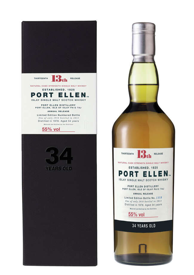 "Port Ellen 34:  This is from 1979, from around the time when Rod Stewart was singing, ""Do Ya Think I'm Sexy.""  It's from another ghost distillery, and eventually these bottles will disappear forever.  In the meantime, this is one extraordinary taste experience -- very smooth, but at the same time a burst of so much flavor.  Just great.  But insanely expensive, too:  $2,000."