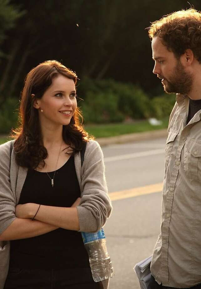 "Actress Felicity Jones and director Drake Doremus on the set of ""Breathe In,"" about an exchange student who causes havoc in her host family. Photo: Cohen Media Group"