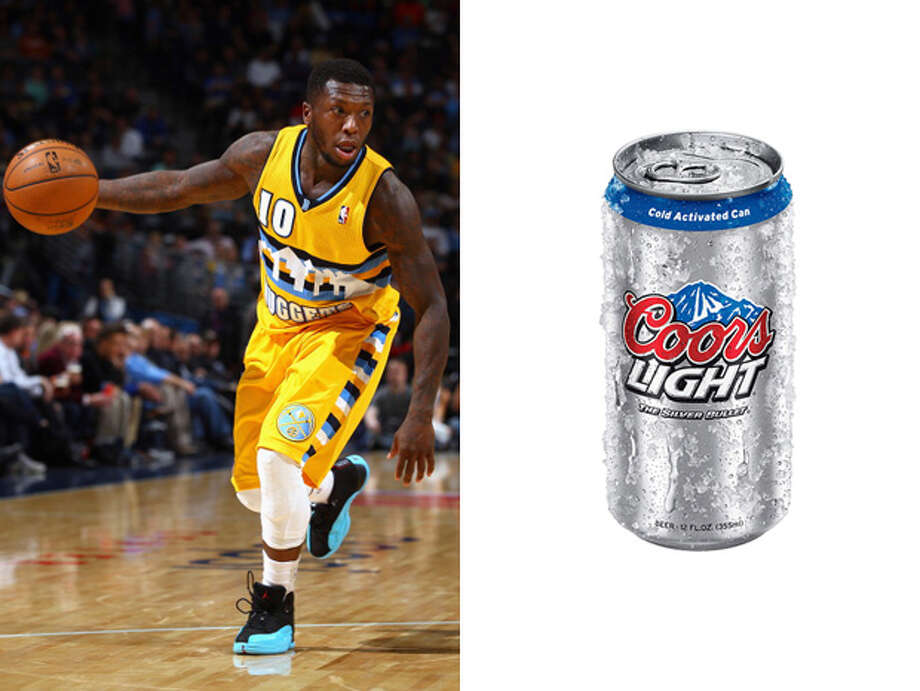 Denver Nuggets / Coors Light:As ice cold as the Nuggets shooting, and as watered down as their chance of ever winning the West. Photo: Doug Pensinger, Getty Images / 2014 Getty Images