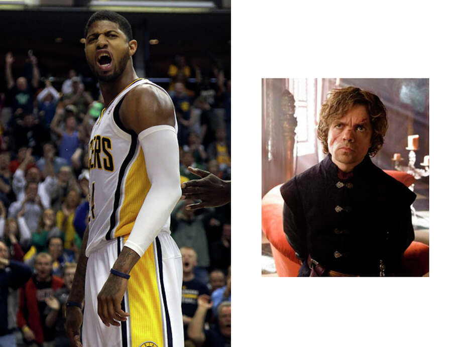 """Indiana Pacers / Tyrion Lannister of """"Game of Thrones:""""Sure it seems like an odd match to have a fictional TV character sponsor an NBA team, but just like Tyrion the Pacers are the most powerful players in the NBA kingdom despite their smaller stature. Also like Tyrion, it's hard to imagine them ever taking the throne, no matter how much you'd like to see it. Photo: AJ MAST, ASSOCIATED PRESS / AP2014"""