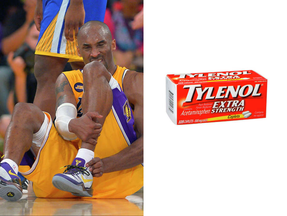 Los Angeles Lakers / Tylenol Extra Strength:To help Kobe get over his leg pain, and to help ownership get over the headache of figuring out what they'll do once he retires for good. Photo: Mark J. Terrill, ASSOCIATED PRESS / A2013