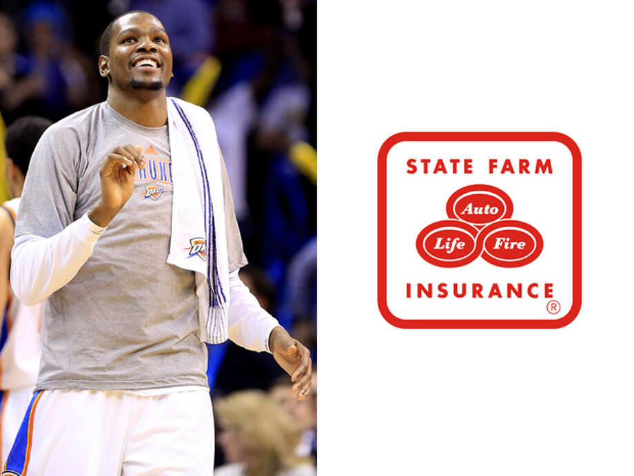 Oklahoma City Thunder / State Farm Insurance:Because if the Thunder lose Kevin Durant to injury, it'll be a disaster. Photo: Alonzo Adams, AP / FR159426 AP