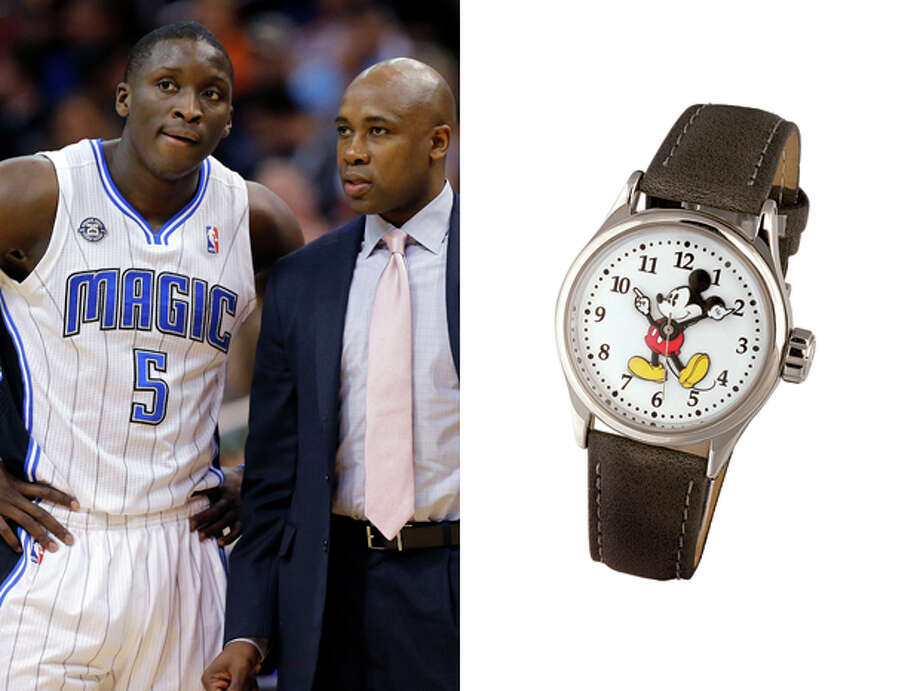 Orlando Magic /  Disney World Mickey Mouse Watch: A nod to their hometown theme park, while at the same time reminding them that time moves forward no matter how much they'd like to turn back the clock to the days when they had Shaquille O'Neal and Penny Hardaway leading them to the Finals. Photo: Matt York, AP / AP
