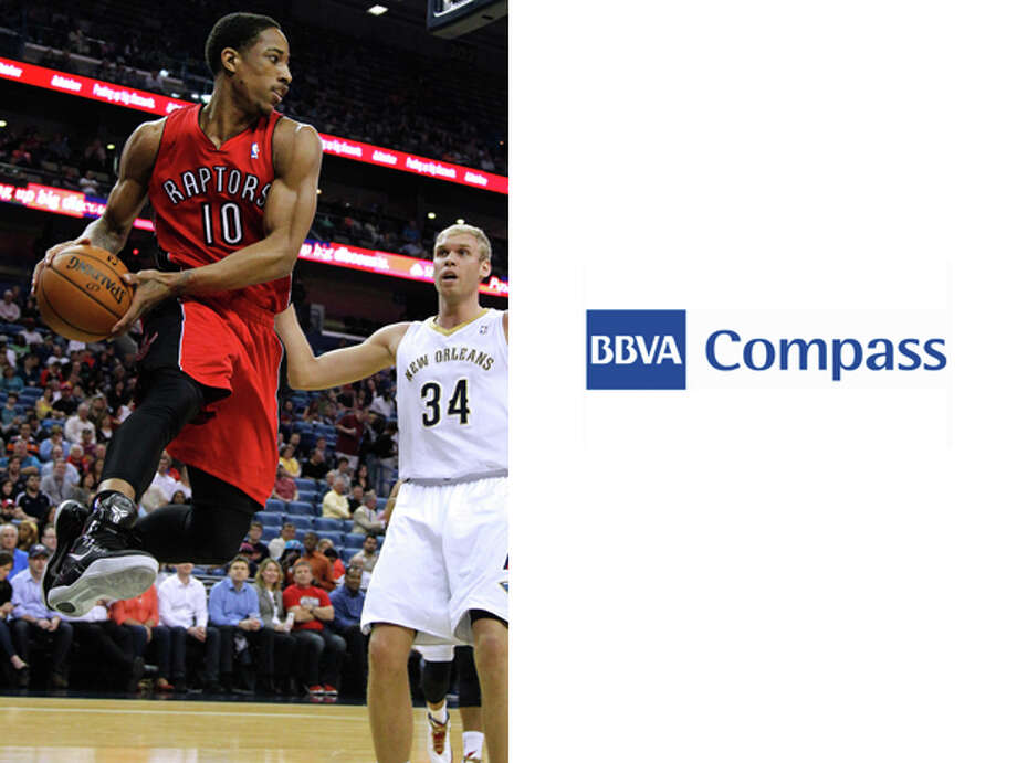 Toronto Raptors // BBVA Compass Financial: The Compass brand name might just help NBA fans remember that there are actually sports teams north of the U.S. border. Photo: Jonathan Bachman, AP / FR170615 AP