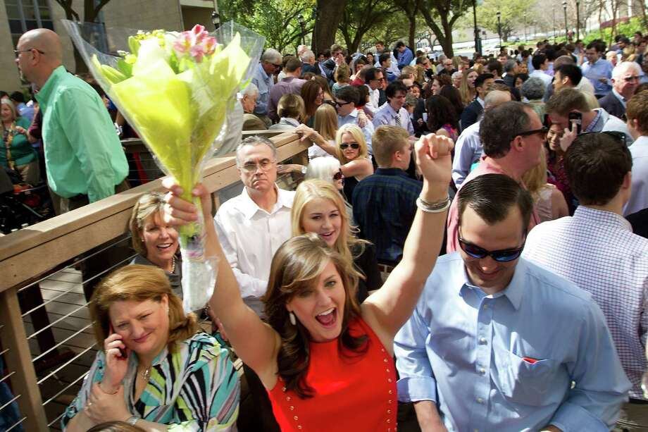 Medical student Lauren Edwards celebrates after opening her Match Day letter at the University of Texas Health Science Center Medical School Friday, March 21, 2014, in Houston. Photo: Brett Coomer, Houston Chronicle / © 2014 Houston Chronicle