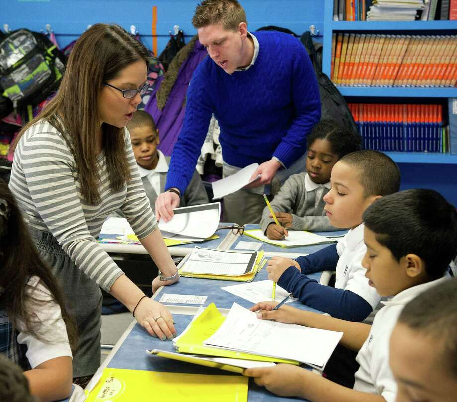 Ashley Lorenzo, third-grade teacher and grade level chairwoman at Bronx Charter School for Excellence in New York, teaches her students earlier this month. The school has filed an application to open Stamford Charter School for Excellence. Photo: Lindsay Perry / Stamford Advocate