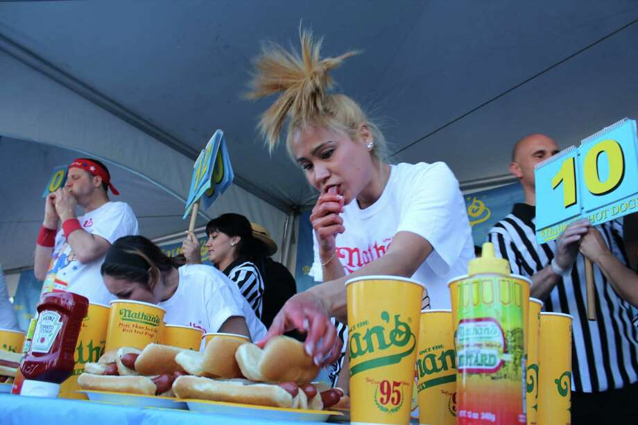 Miki Sudo, the No. 1-ranked female eater,  reportedly has picked Houston's contest for her qualifying event for the Nathan's Famous Hot Dog Eating Contest, July 4 at Coney Island. Last year, she qualified in Las Vegas with 40 hot dogs and buns. Photo: Michael Hidrosollo / ONLINE_YES