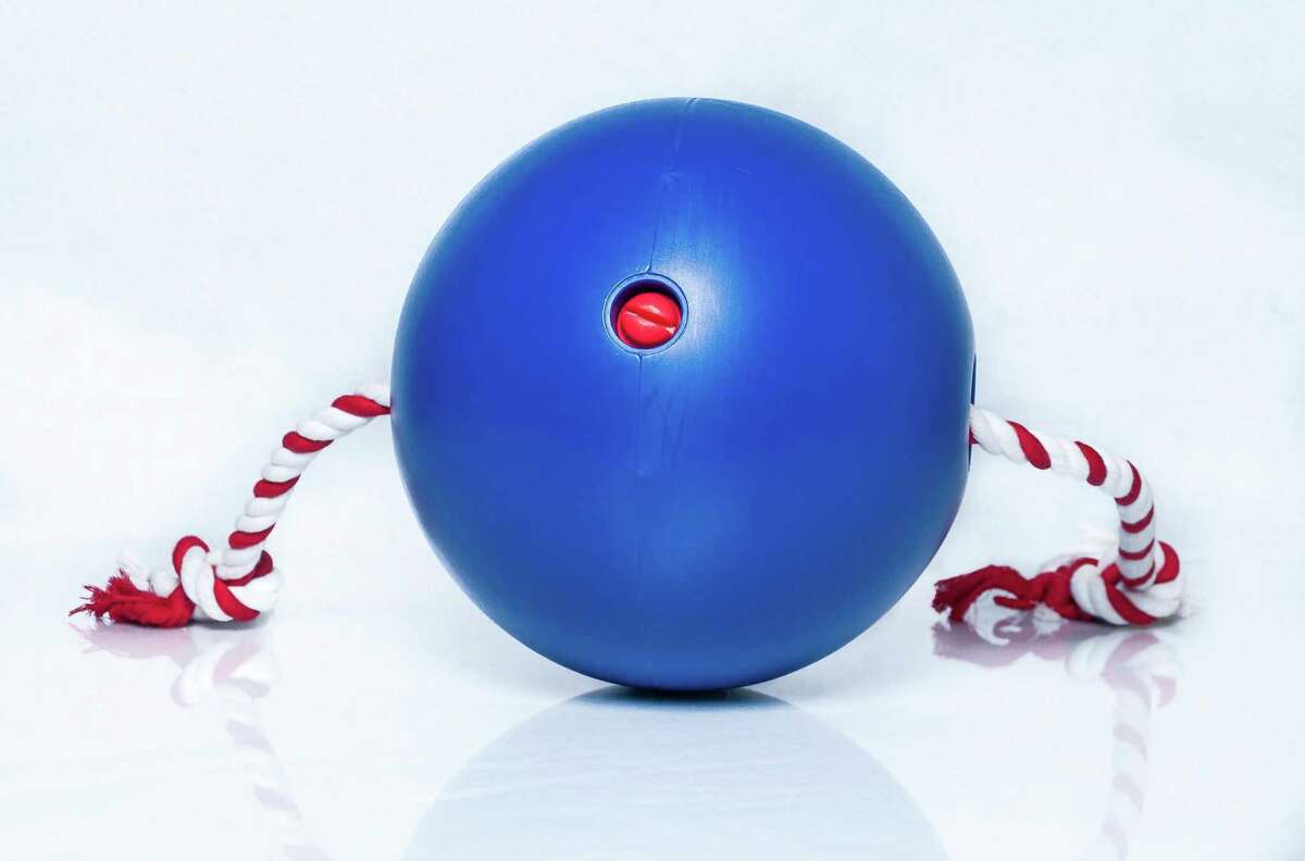 An iFetch ball launcher allows dogs to launch the balls themselves.