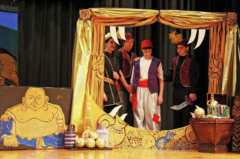 "There is still time to catch the Central Middle School Theater Arts Program's production of ""Disneyís Aladdin Jr.î The last performance is tonight at 7 p.m. Tickets,which are $10, are available at the door. Above, Jafar's guards get ready to toss Aladdin in the Cave. From left are Jake Penella, Ben Rosenfeld, Ben Michals and Joe Mingione. Photo: Contributed Photo / Greenwich Time Contributed"