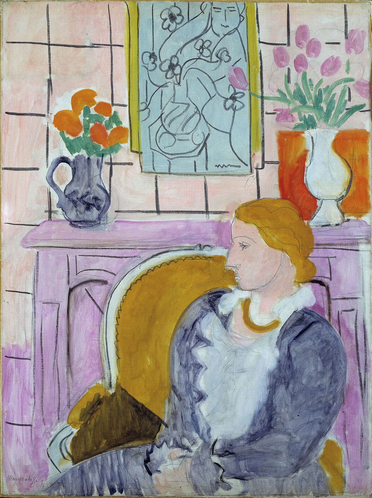 """""""Woman in Blue in Front of a Fireplace,"""" circa 1937 by Henry Matisse"""