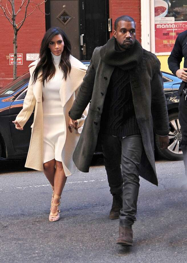 Kim Kardashian and Kanye West are seen on February 22, 2014 in New York City. Photo: NCP/Star Max, GC Images