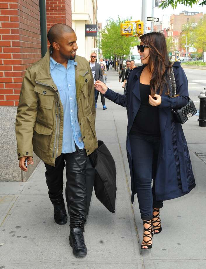 Kim Kardashian and Kanye West are seen in Soho on May 6, 2013 in New York City. Photo: Raymond Hall, FilmMagic