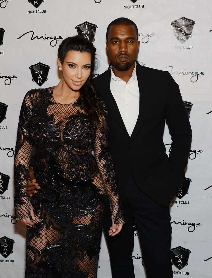Kim Kardashian and Kanye West arrive for the New Year;s Eve countdown at 1 OAK Nightclub At The Mirage  on December 31, 2012 in Las Vegas, Nevada. Photo: Denise Truscello, WireImage