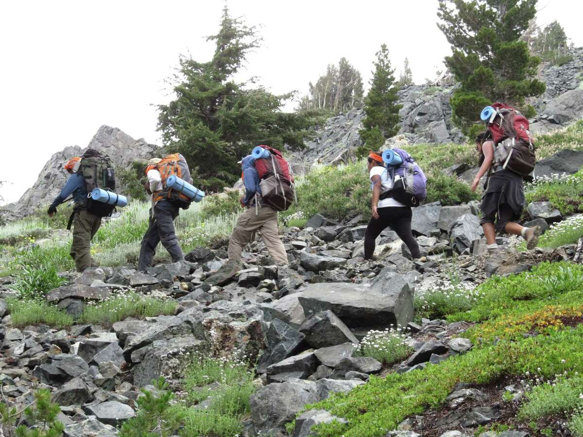 Students in the Woods Project hike the Donner Pass in California's Sierra Nevada.