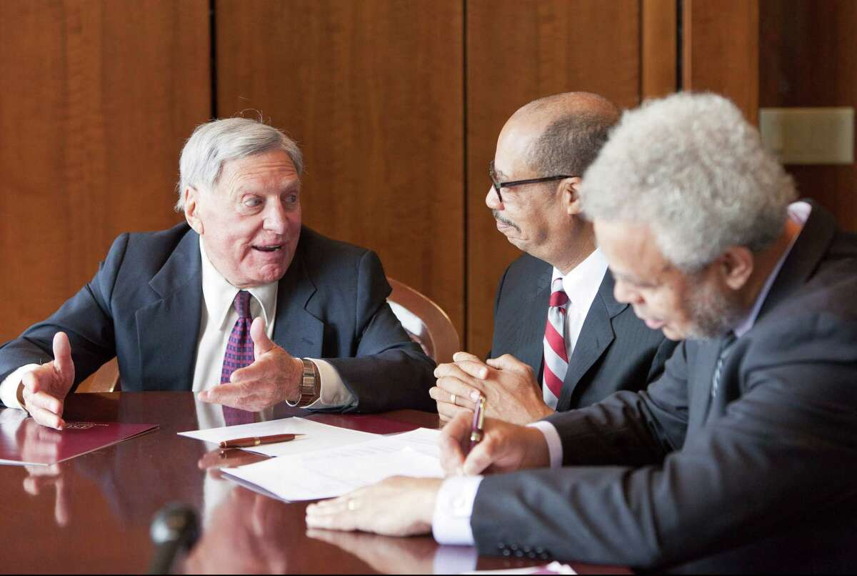 Attorney Joe Jamail, left, regales students and faculty from TSU with stories from a lifetime as a legendary trial attorney in this April 4, 2012 file photo.