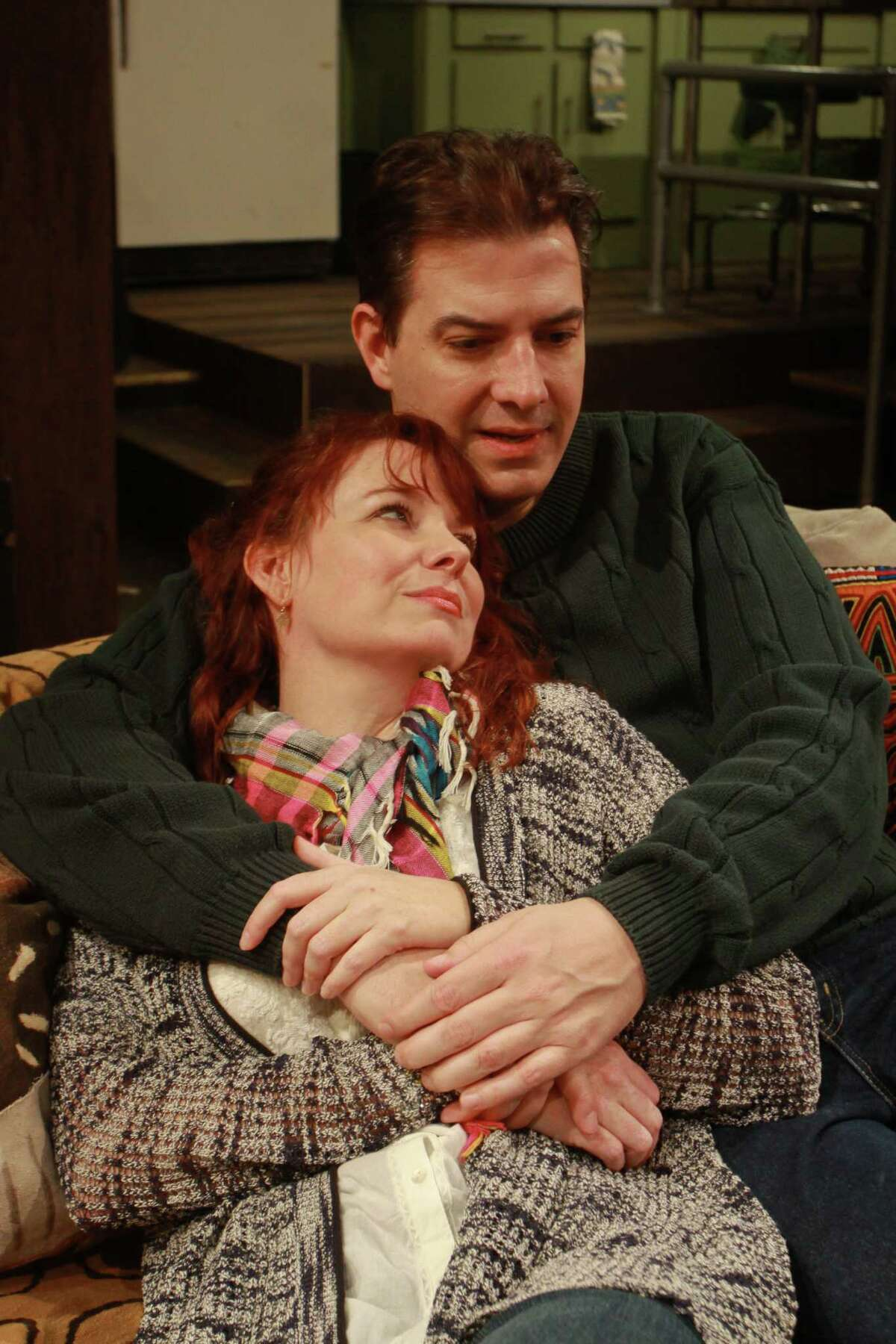 """(For the Chronicle/Gary Fountain, March 16, 2014) Sara Gaston as Sarah, and Sean Patrick Judge as James, in this scene from Main Street Theater's Houston premiere of Donald Margulies' play """"Time Stands Still."""""""