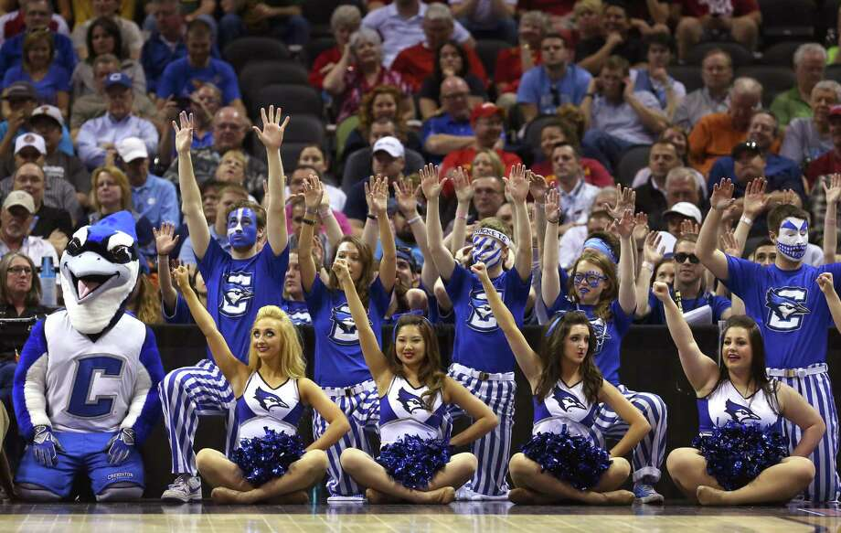SAN ANTONIO, TX - MARCH 21: The Creighton Bluejays cheerleaders and mascot look on in the second half against the Louisiana Lafayette Ragin Cajuns during the second round of the 2014 NCAA Men's Basketball Tournament at AT&T Center on March 21, 2014 in San Antonio, Texas. Photo: Ronald Martinez, Getty Images / 2014 Getty Images