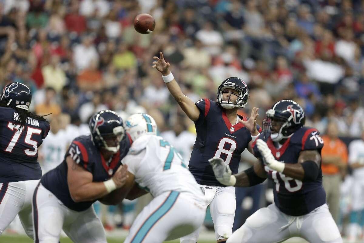 Houston Texans quarterback Matt Schaub (8) passes against the Miami Dolphins during the first half of a preseason NFL football game Saturday, Aug. 17, 2013, in Houston. (AP Photo/Patric Schneider)