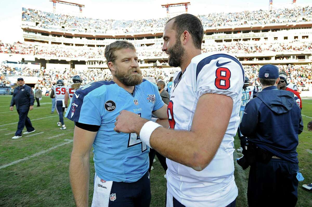 Little did they know last December that Ryan Fitzpatrick, left, would become a Texan and Matt Schaub would be a Raider.