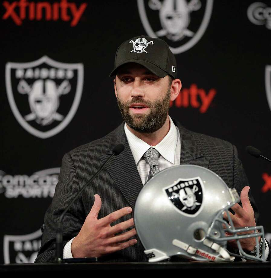 "Longtime Texans quarterback Matt Schaub dons a new look for his ""fresh start"" in Oakland. He was named the Raiders' starter, a job he had lost during the Texans' 2-14 season. Photo: Ben Margot, STF / AP"