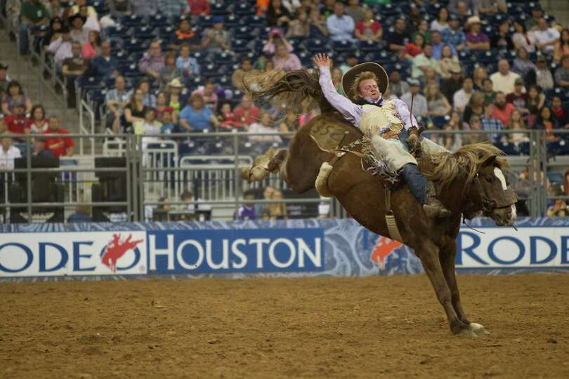 Jr Vezain competes in BP Super Series Wildcard Bareback Riding competition at Reliant Stadium on Fri