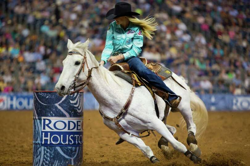 Kaley Bass competes in the BP Super Series Wildcard Barrel Racing competition during Houston Livesto