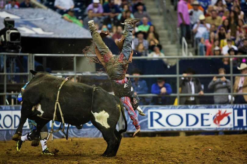 Tag Elliott competes in the BP Super Series Wildcard Bull Riding competition during Houston Livestoc