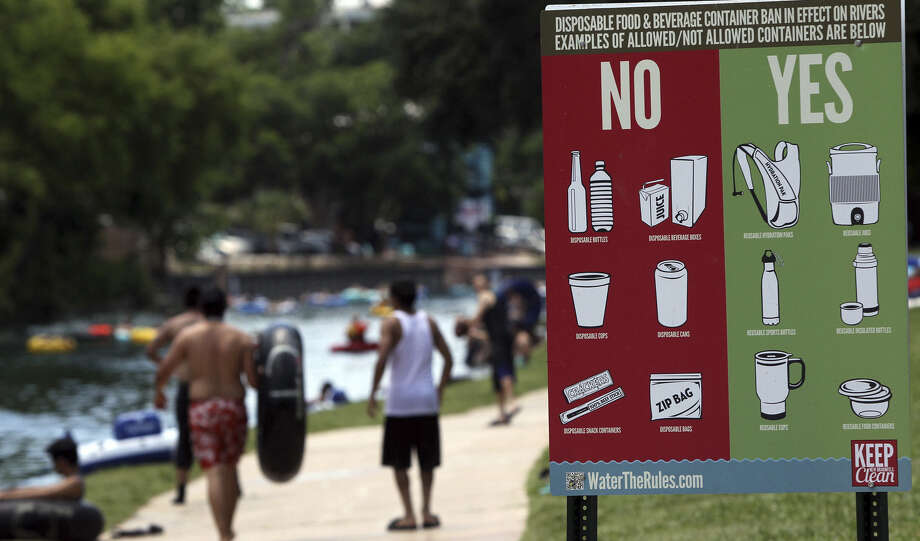 This sign in Prince Solms Park in New Braunfels greeted Memorial Day visitors in 2012. Photo: File Photo / San Antonio Express-News / San Antonio Express-News