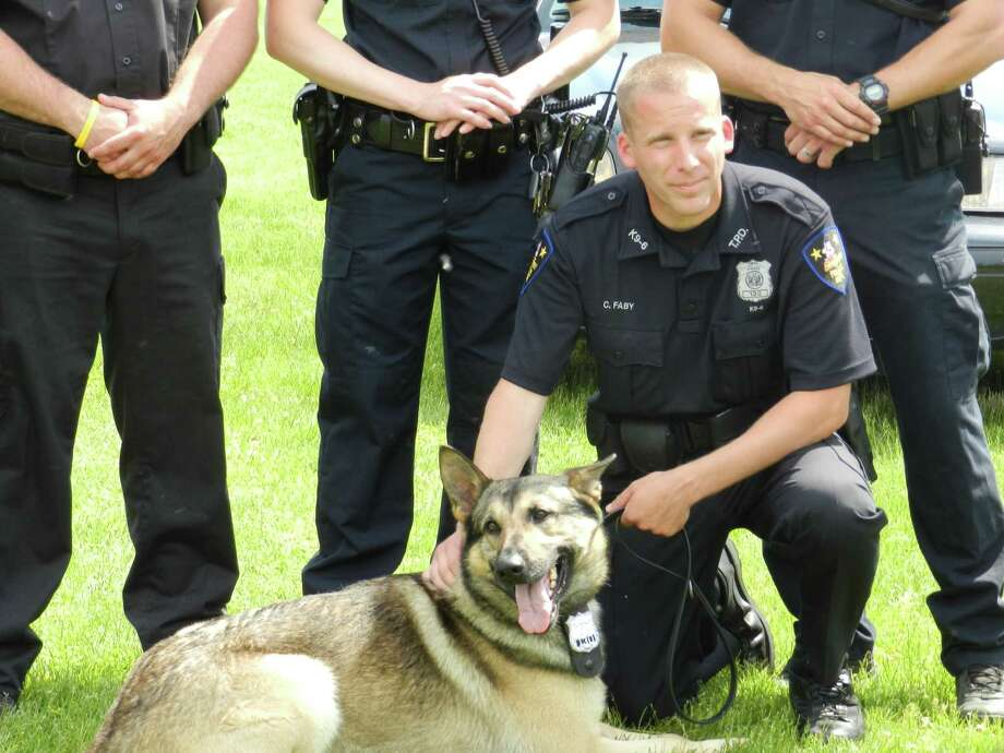 Officer Craig Faby and Obie (Troy police photo)