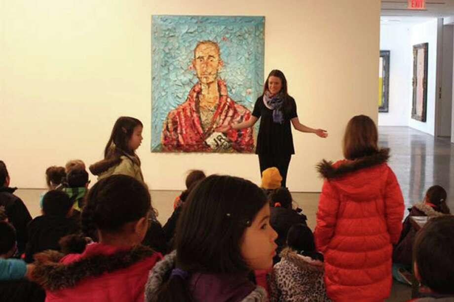Director of Education for the Brant Foundation Emily McElwreath describes Julian Schnabelís plate paintings to second graders from New Lebanon School during the students' recent visit to the foundation's gallery. Photo: Contributed Photo / Greenwich Time Contributed