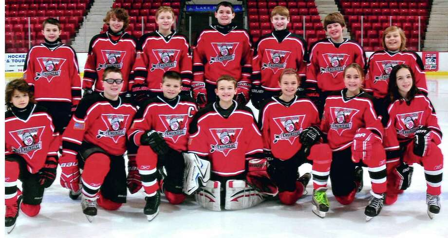 The Troy Albany Pee Wee B hockey team includes, bottom row from left:  Will Ashley (Troy), Robert Doyle (Troy), Hunter Caola (North Greenbush), Brandon Henges (Schenectady), Hannah Sharlow (Menands),  Maddie Zareski (Castleton) and Emma McGuane (Castleton). Top row: Collin Lagios (Guilderland), Jonathon Fuller (Albany),  Matthew Powers (Castleton), Michael Baker (Brunswick), Christopher Lasher (Halfmoon), Cam Gagnon (Wynantskill) and Johnny Ely (Averill Park).