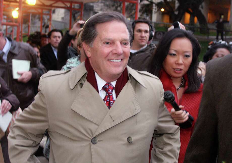 FILE - In this Jan. 10, 2011, file photo, Former House Majority Leader Tom DeLay leaves the Travis Co. Jail after posting an appeals bond in Austin, Texas. A Texas appeals court tossed the criminal conviction of DeLay on Thursday, Sept. 19, 2013, saying there was insufficient evidence for a jury in 2010 to have found him guilty of illegally funneling money to Republican candidates. (AP Photo/Jack Plunkett, File) Photo: Jack Plunkett, FRE / FR59553 AP