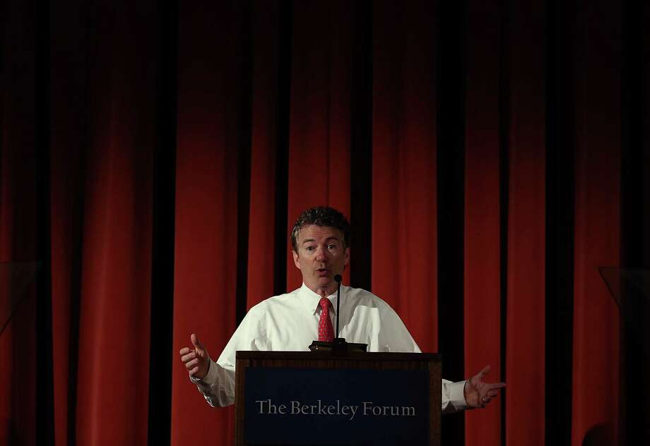 BERKELEY, CA - MARCH 19:  U.S. Sen. Rand Paul (R-KY) speaks during the Berkeley Forum on the UC Berkeley campus on March 19, 2014 in Berkeley, California.  Paul addressed the Berkeley Forum on the importance of privacy and curtailing domestic government surveillance.  (Photo by Justin Sullivan/Getty Images) ORG XMIT: 479810045 Photo: Justin Sullivan / 2014 Getty Images