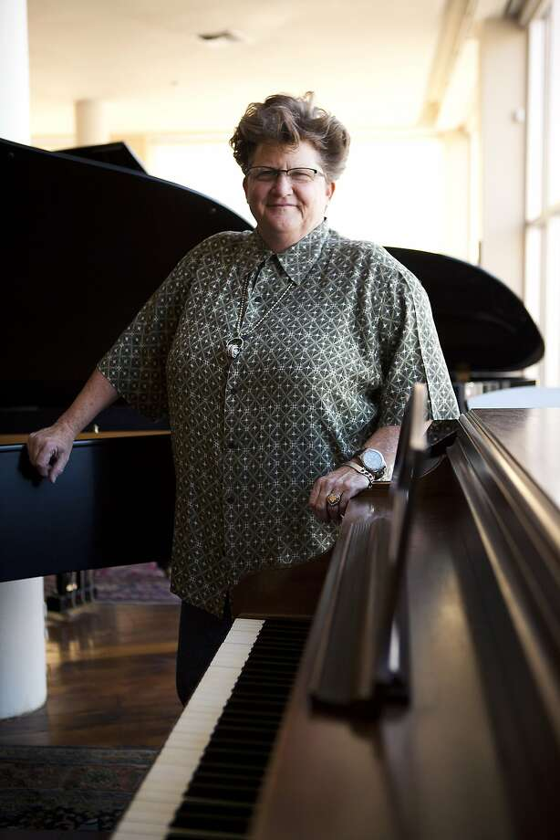 Page Hodel in a quiet moment, though a pounding rhythm has always been her forte. Photo: Michael Short, The Chronicle
