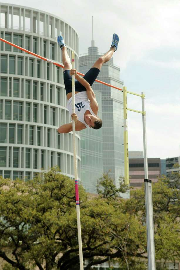 Rice University's Vitaly Bilenko competes in the University division of the Men's Pole Vault competition during the 63rd Annual TSU Relays at Rice University on Friday. Photo: Jerry Baker, For The Chronicle