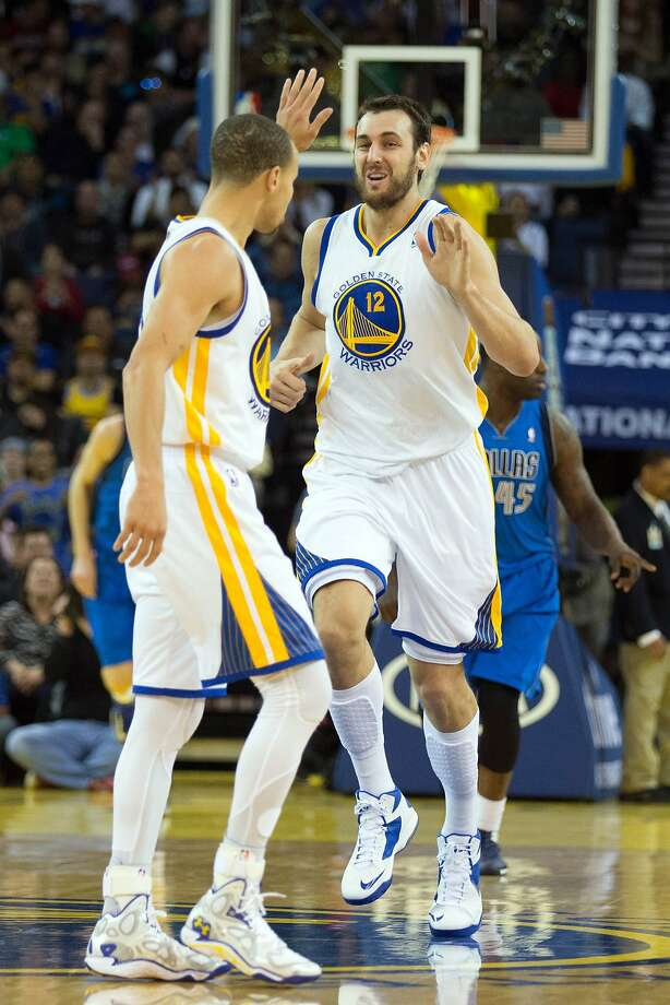 Stephen Curry and Andrew Bogut during a March game against Dallas. Bogut last played April 13, missing the playoff series with a fractured rib. Photo: Kelley L Cox, Reuters