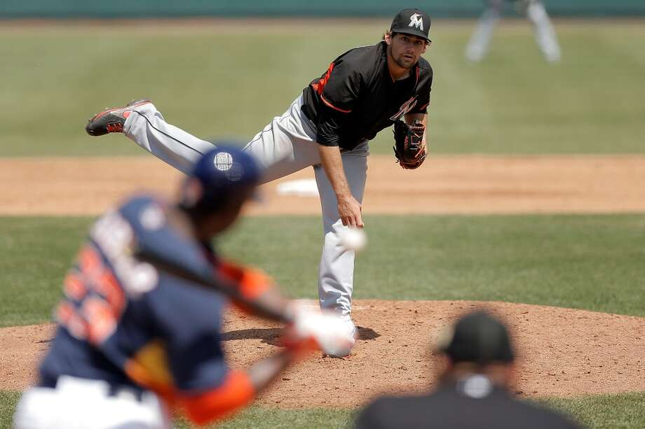 March 21: Marlins, Astros 2 Nathan Eovaldi throws a pitch in the fourth inning. Photo: Stacy Revere, Getty Images