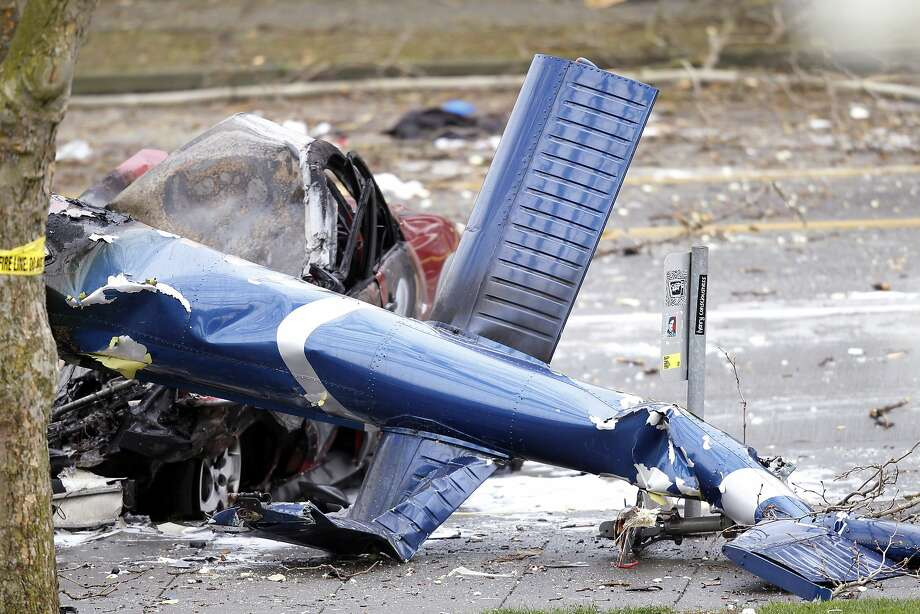 The wreckage of the helicopter that crashed last week is being reconstructed by the safety board. Photo: Stephen Brashear, Associated Press