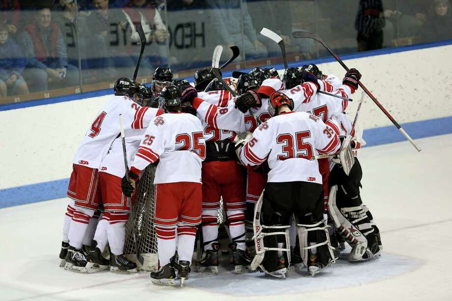 Fairfield Prep's huddle before the start of Saturday afternoon CIAC State Finals against Darien High School. Fairfield Prep would win 2-1 in sudden death overtime. Photo: Mike Ross / Mike Ross Connecticut Post freelance -www.mikerossphoto.com