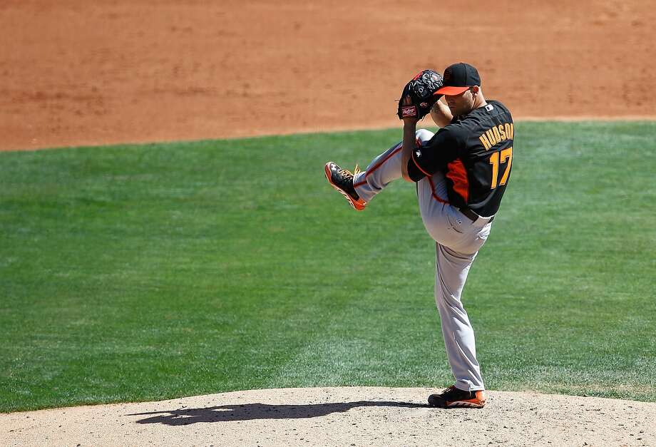 Tim Hudson pitches in his final Cactus League game, against the White Sox. The Giants are counting on him for contributions off the field as well, working with his rotation mates. Photo: Sarah Glenn, Getty Images