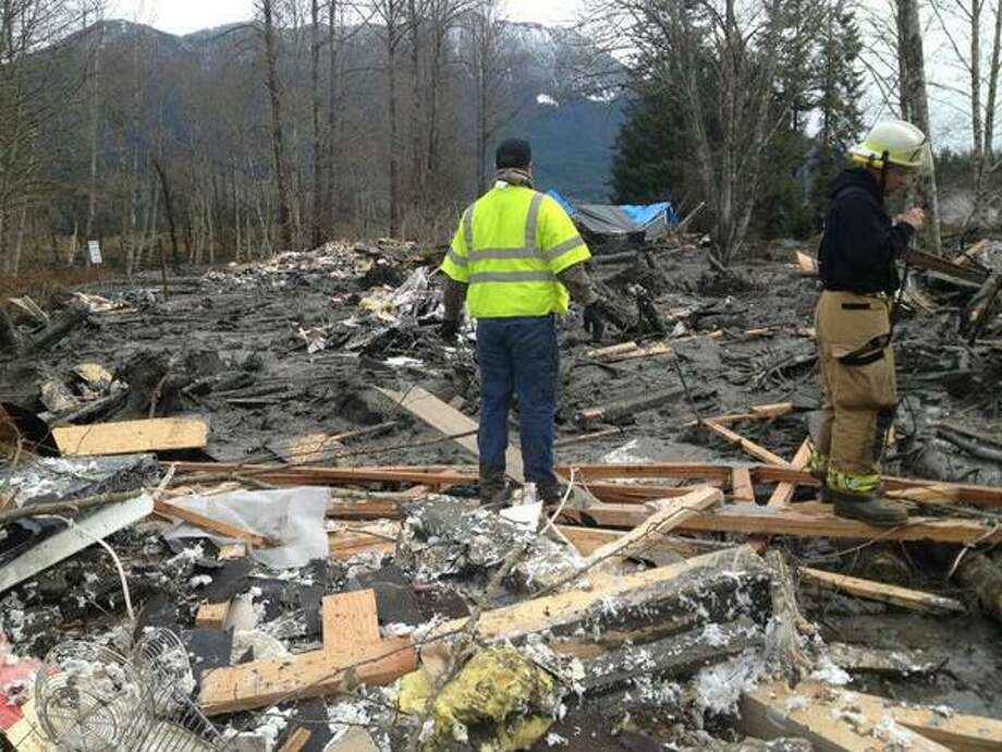 A photo from the Washington State Patrol, posted to Twitter on Saturday  afternoon, shows the area of the mudslide across state Route 530. Photo: Washington State Patrol/via Twitter