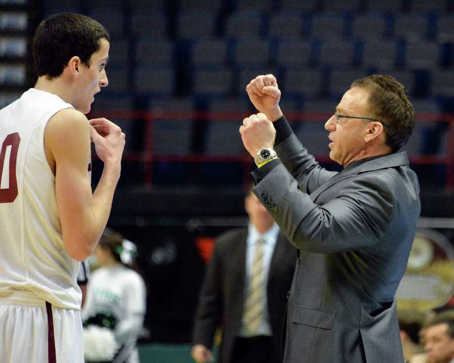 Scotia's #20 Mike Palleschi, left, and head coach James Giammattei along the sidelines of their Class A Federation boys' basketball final against Holy Trinity at the Times Union Center Saturday March 22, 2014, in Albany, NY.  (John Carl D'Annibale / Times Union) Photo: John Carl D'Annibale / 00026204A